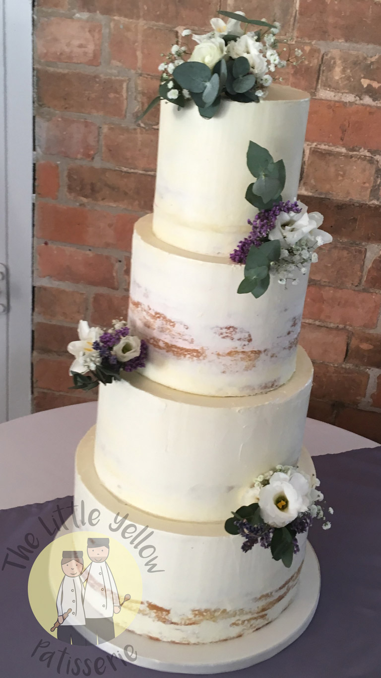 The Little Yellow Patisserie Wedding Cakes (four tiered white cake with leaves and flowers)