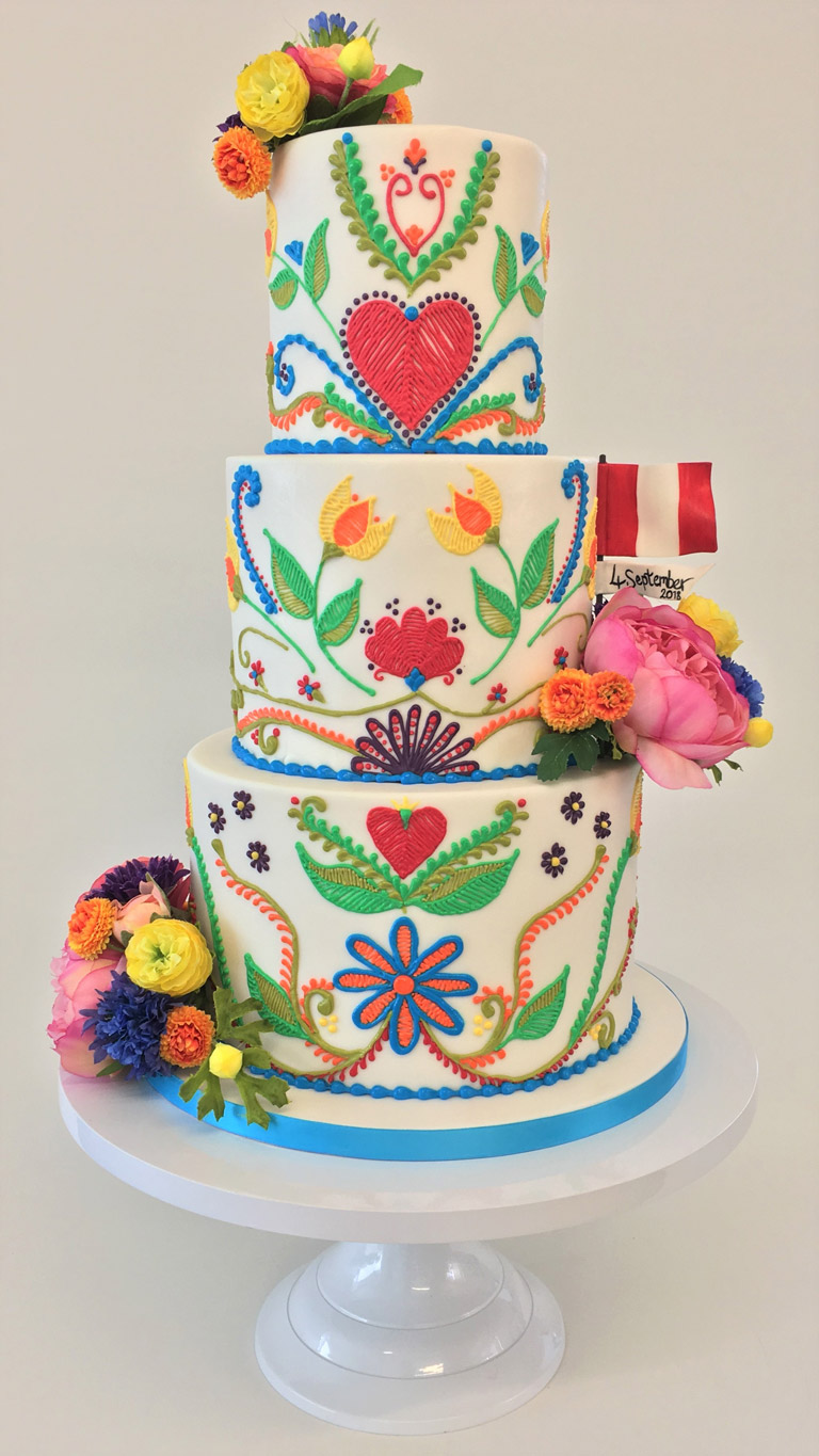 The Little Yellow Patisserie Wedding Cake (three tier cake with colourful icing decorations and a fondant Peruvian flag)