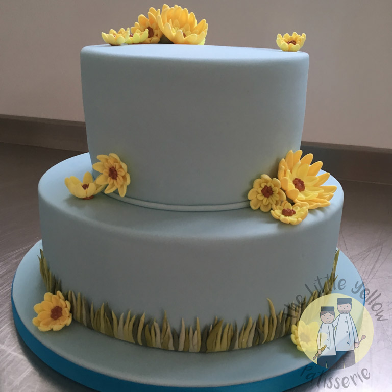 The Little Yellow Patisserie Cakes (blue cake with grass and yellow daisies)