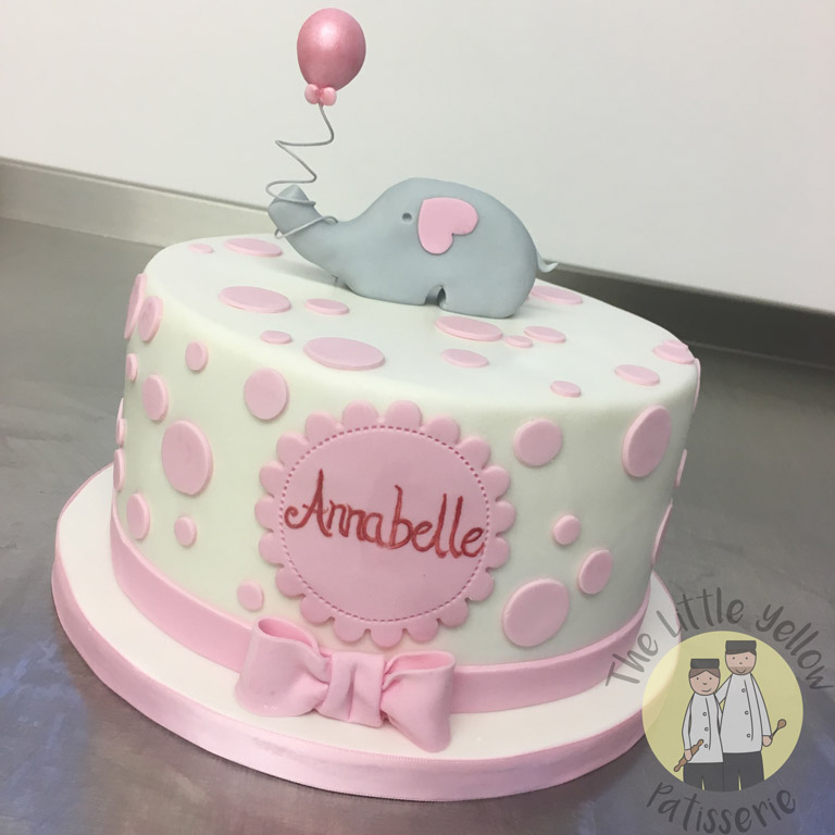 The Little Yellow Patisserie Cakes (blue cake with pink spots and fondant name in a heart)