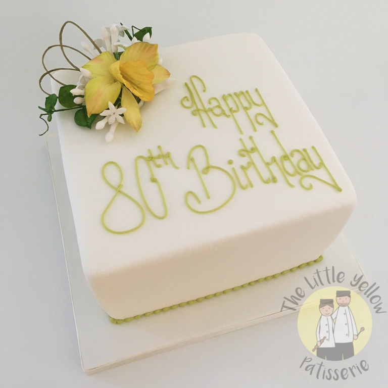 The Little Yellow Patisserie Cakes (Square white cake with Happy 80th Birthday on top)