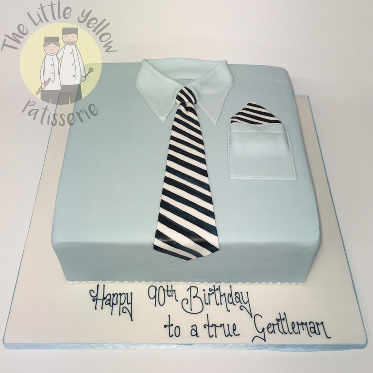 The Little Yellow Patisserie Cakes (square cake made to look like a shirt with a striped tie)