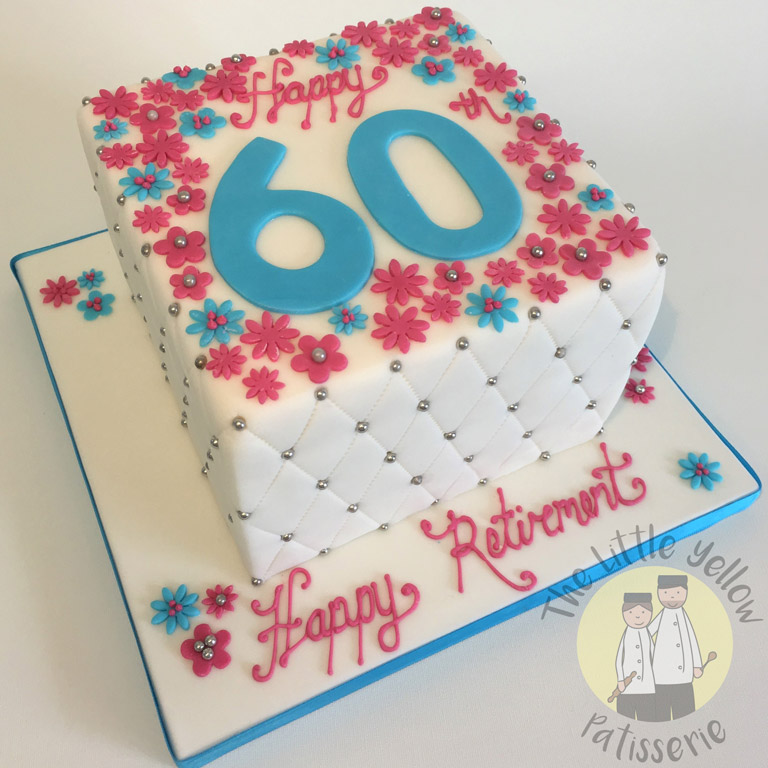 The Little Yellow Patisserie Cakes (Squared white cake with flowers and a large 60 on top)