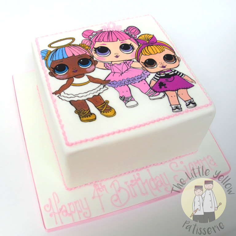 The Little Yellow Patisserie Celebration Cakes (White square cake with cartoon girls on top)