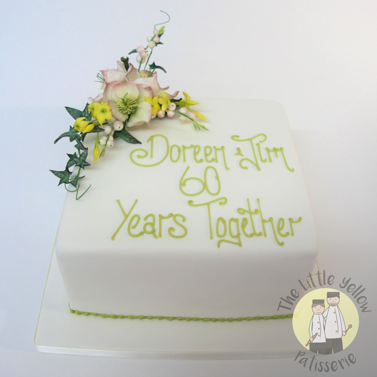 The Little Yellow Patisserie Celebration Cakes (White anniversary cake with fondant flowers and writing)