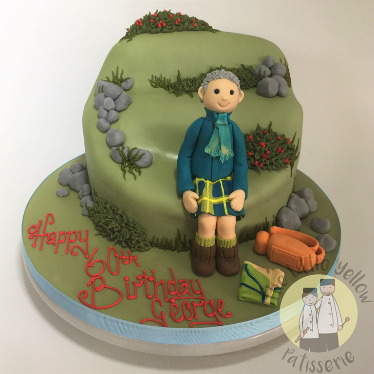 The Little Yellow Patisserie Celebration Cakes (green cake designed to look like a hill with a fondant man on top)