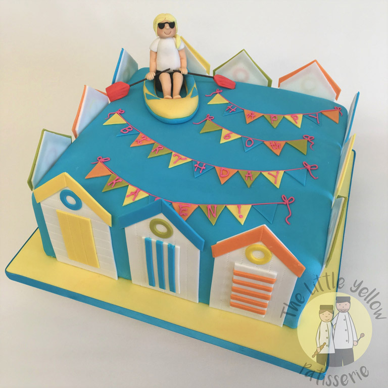 The Little Yellow Patisserie Celebration Cake (blue square cake designed to look like a beach scene)