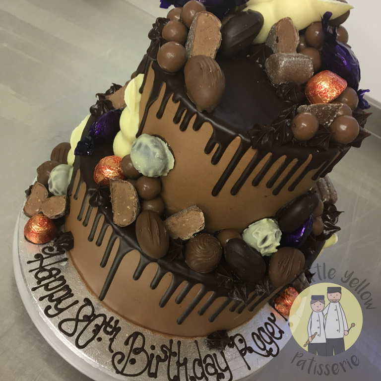 The Little Yellow Patisserie Celebration Cakes (tiered chocolate cake with iced chocolate decorations)