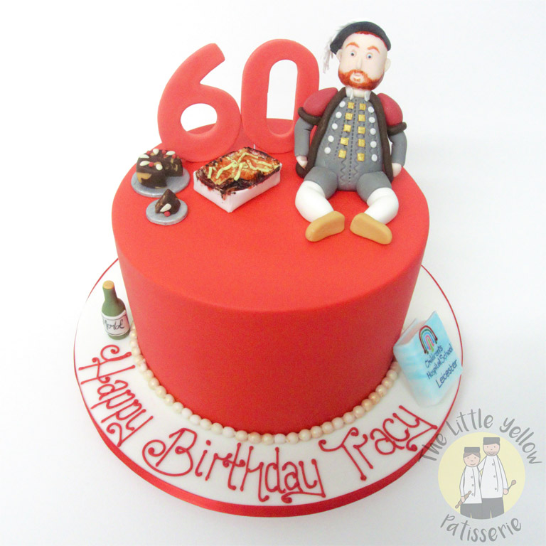 Unique Birthday Celebration Cakes Leicestershire The Little Yellow Patisserie (Large red cake with fondant Henry VIII on top)