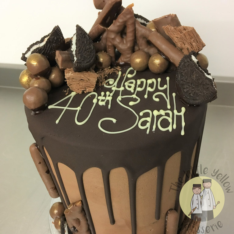 The Little Yellow Patisserie Celebration Cakes (Chocolate cake with chocolate oreo and pretzel decorations)