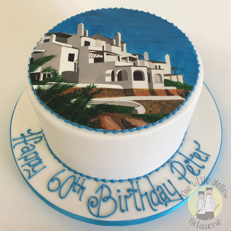 The Little Yellow Patisserie Celebration Cakes (White birthday cake with a villa scene painted on top)