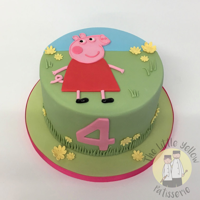 The Little Yellow Patisserie Celebration Cakes (round Peppa Pig cake with a fondant 4 on the side)