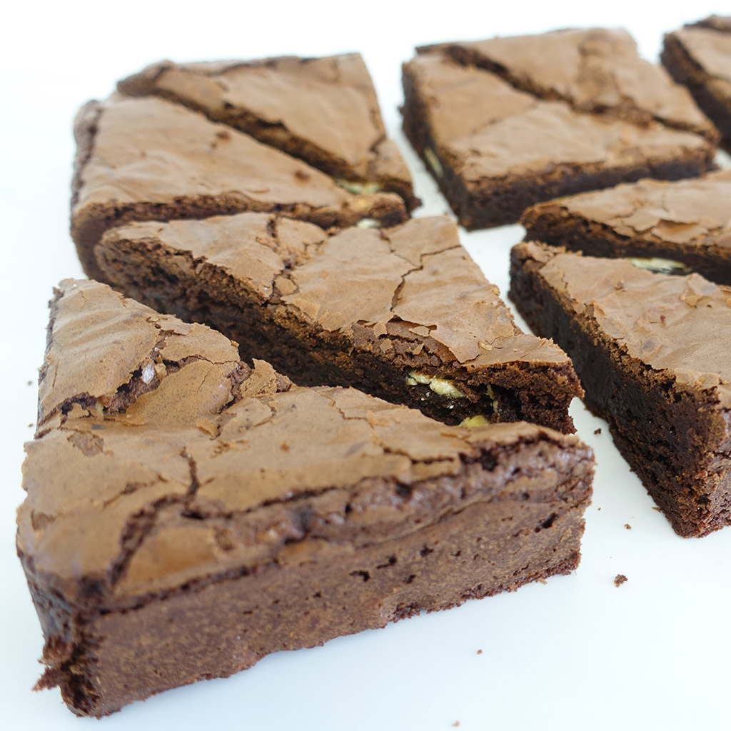 The Little Yellow Patisserie Double Chocolate Gluten Free Brownie (picture of a close up brownie)