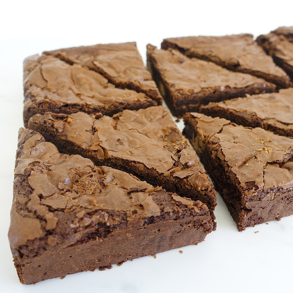 The Little Yellow Patisserie Peanut (close up picture of brownie triangles)