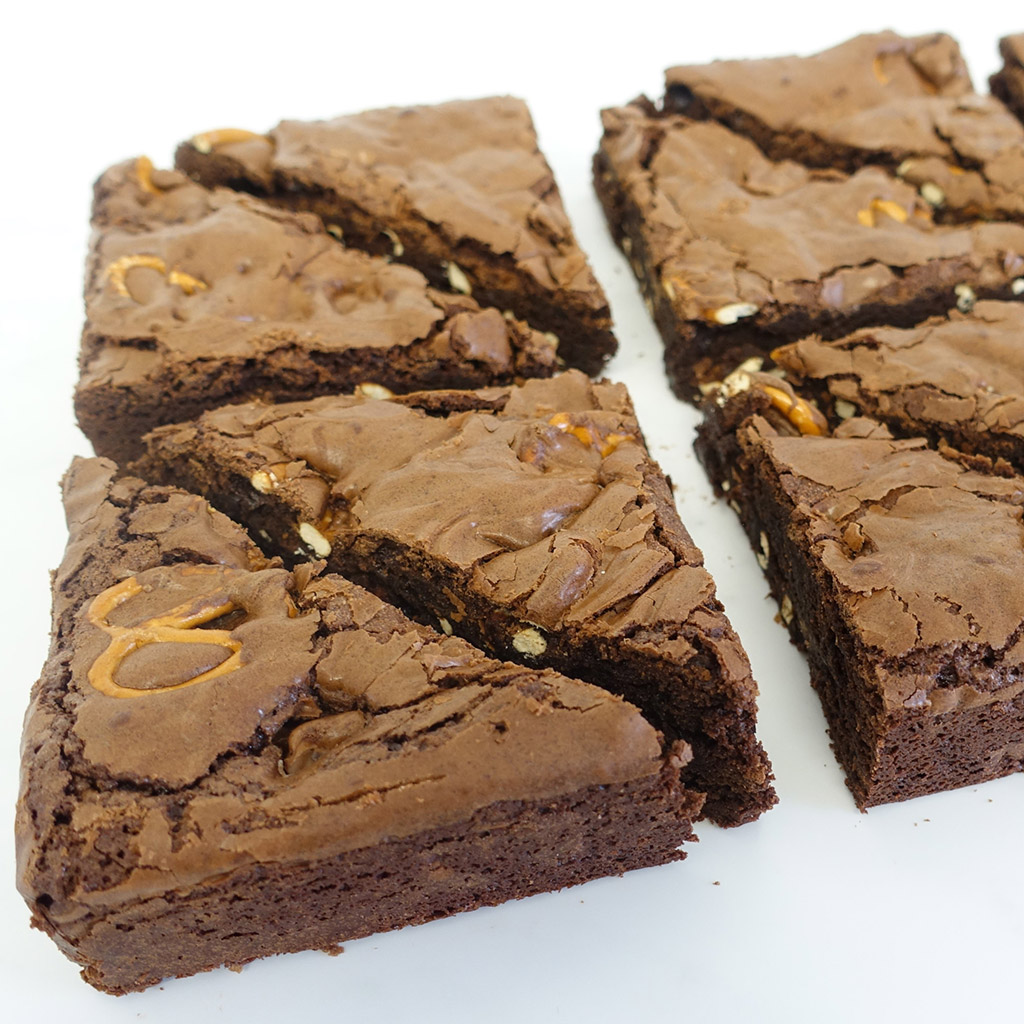 The Little Yellow Patisserie Caramel Pretzel (brownie triangles with pretzel chunks)