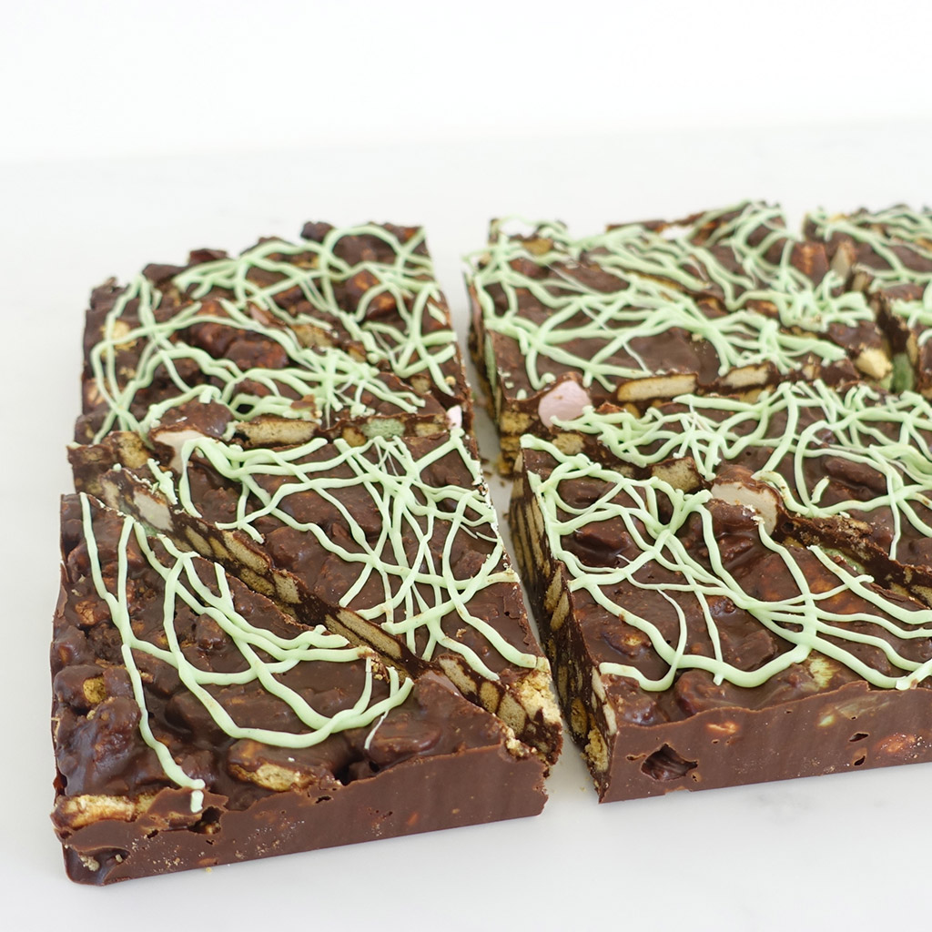 The Little Yellow Patisserie Mint Tiffin (tiffin triangles drizzled with green icing)