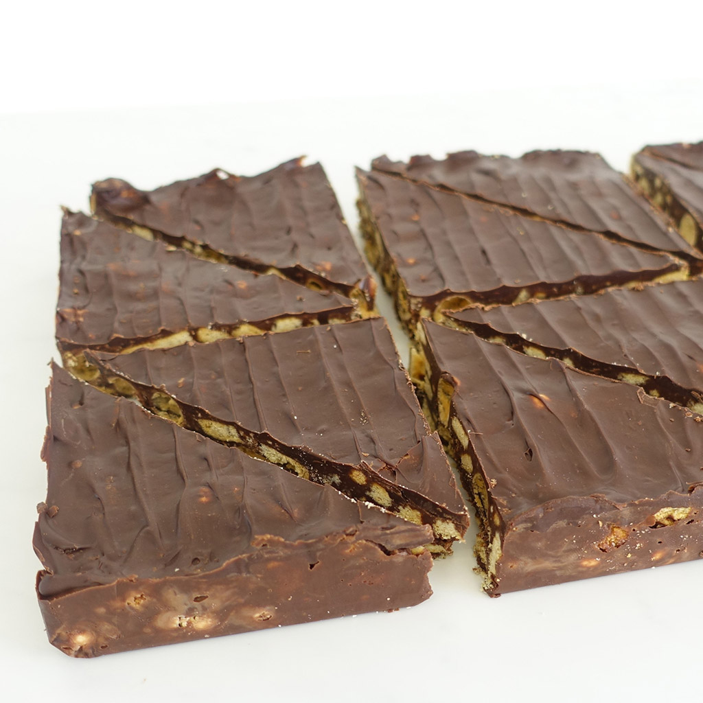 The Little Yellow Patisserie Malteser Tiffin (chocolate covered malteser tiffin triangles)