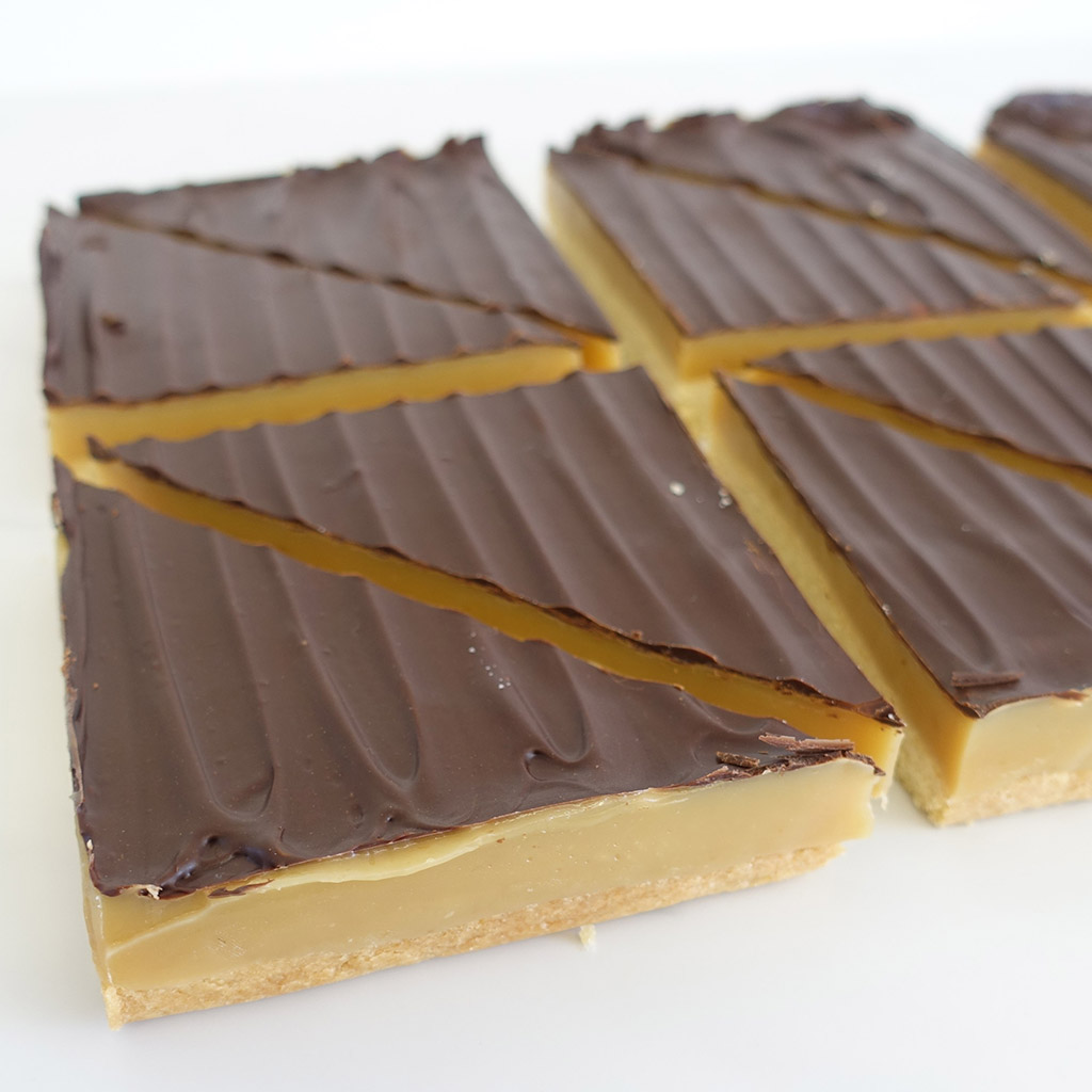 The Little Yellow Patisserie Millionaires Shortbread (layered shortbread with chocolate and caramel)