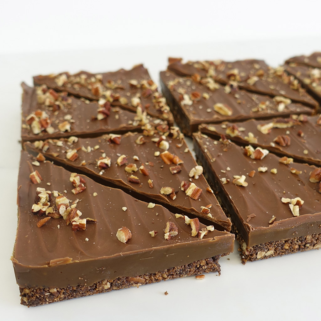 The Little Yellow Patisserie Mocha Pecan (chocolate layered triangles with pecan chunks on top)