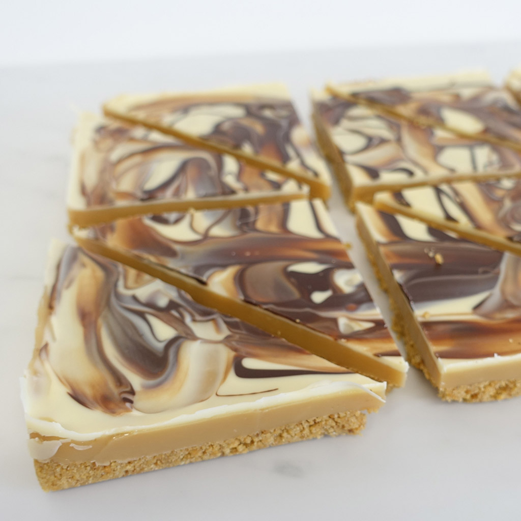 The Little Yellow Patisserie Irish Cream Caramel (triangles of swirled coffee and white icing)