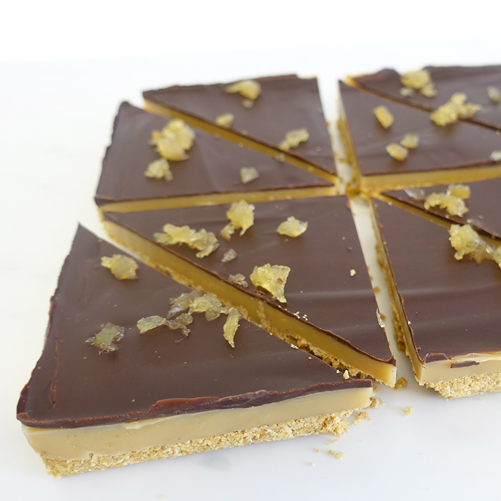 The Little Yellow Patisserie Ginger Caramel Traybake (triangles of chocolate, caramel and shortbread layers)