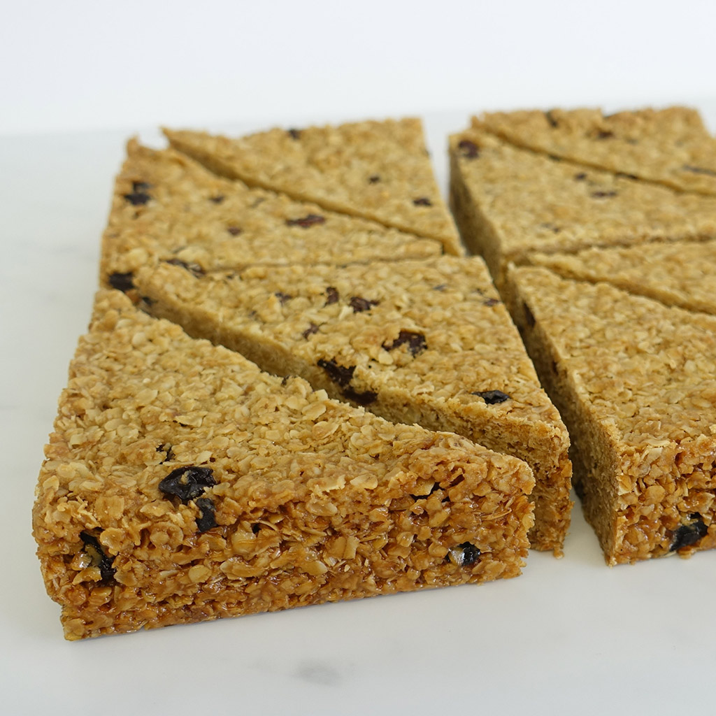The Little Yellow Patisserie Fruit Flapjack (triangles of flapjack with fruit pieces)