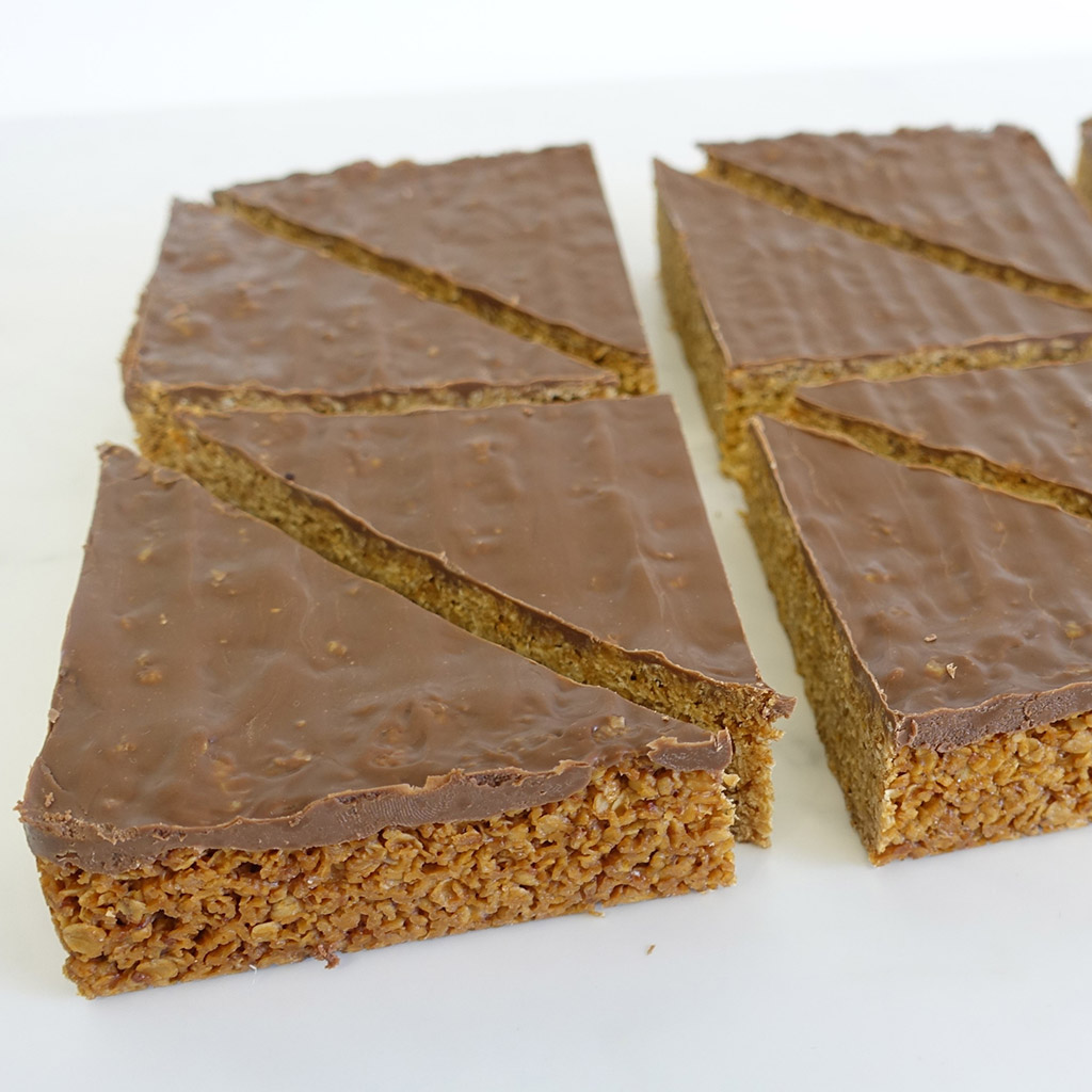 The Little Yellow Patisserie Chocolate Flapjack (triangles of chocolate covered flapjack)