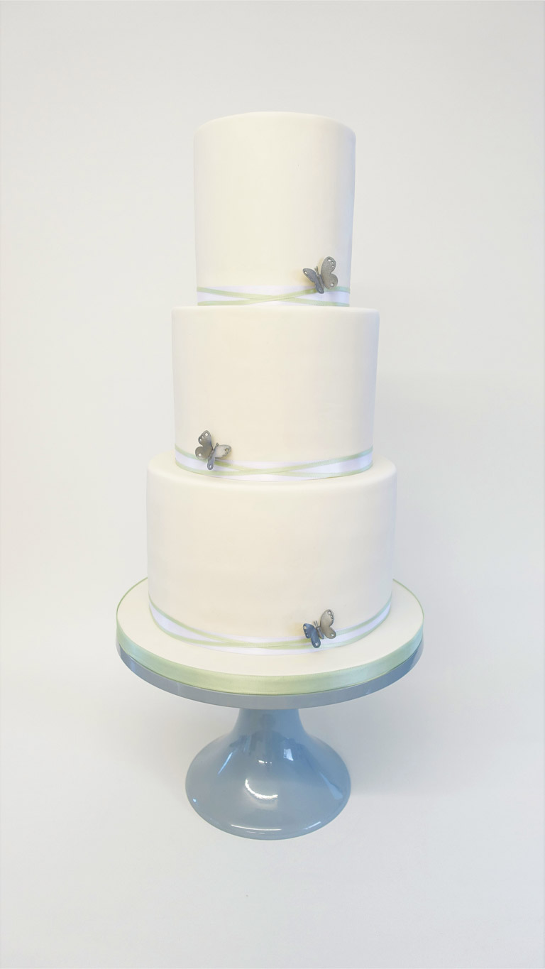 Sage and Silver Butterflies   Wedding Cakes